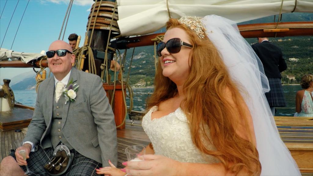 Bridal couple on Lake Garda cruise