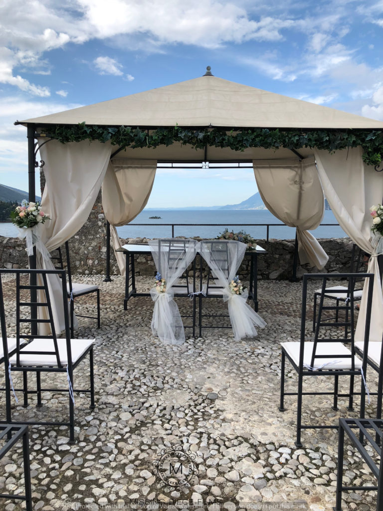 Wedding video set up and ceremony at Castle